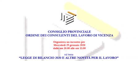 """29 Gennaio 2020 """"LEGGE DI BILANCIO 2020 E ALTRE NOVITÀ PER IL LAVORO"""